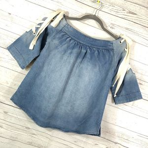 Dance & Marvel Denim Lace Up Boat Neck Small